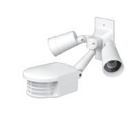 Leviton PS110-1FW Professional Series Outdoor Passive Infrared Motion Sensor with Dual Floodlights. Incandescent: 1000W @ 120V. For 60Hz AC only. Coverage: 110 degrees.