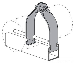 "Power-Strut PS1300-1-1/2-AS-EG Standard Pipe Clamp for 1-1/2"" EMT, GRC & IMC (assembled)."