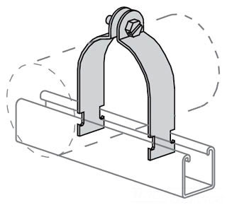 "Power-Strut PS1100-3-1/2-AS-EG Standard Pipe Clamp for 3-1/2"" GRC & IMC (assembled)."