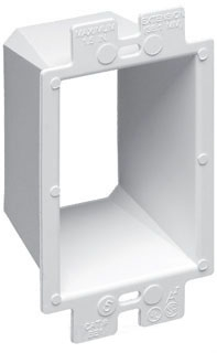 "Arlington BE1 Single Gang Box Extender.  Levels and supports the wiring device where the box is set back from the wall surface. Extends box up to 1-1/2""."