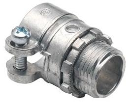 "Bridgeport 407-DC2 1/2"" Zinc Diecast Squeeze Connectors used to connect Flexible Metal Conduit to Box or Enclosure"