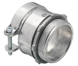 "Bridgeport 416-DC2 2"" Zinc Diecast Squeeze Connectors used to connect Flexible Metal Conduit to Box or Enclosure"