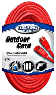 02409SW8804 14-3 SJT 100' RED EXT CORD Product Image