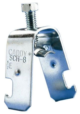 "Caddy SCH20B One-Piece Strut Clamp. 1-1/4"" EMT, 1"" Rigid, 1.00-1.510"" Cable(OD) to Strut. Electro zinc plated. Static load, 200 lbs. Standard package qty, 100."