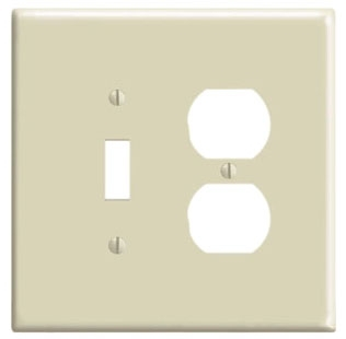 LEVITON 86105 : 2 GANG IVORY OVERSIZE COMBINATION PLATE