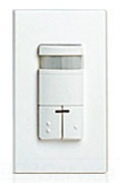 Leviton ODS0D-IDW White Dual Relay Wall-Switch Passive Infrared Occupancy Sensor. Primary/Secondary Incandescent: 800W @ 120V. Primary Fluorescent: 1200VA @ 120V, 2700VA @ 277V. Secondary Fluorescent: 800VA @ 120V, 1200VA @ 277V. Coverage: 2400 Sq.Ft. Pattern: 180 deg. (Decora wallplate sold separately)