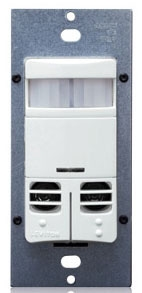 Leviton OSSMD-GDW White Dual-Relay Wall-Switch Multi-Technology Occupancy Sensor. Primary/Secondary Incandescent: 800W @ 120V. Primary Fluorescent: 1200VA @ 120v, 2700VA @ 277V. Secondary Fluorescent: 800VA @ 120V, 1200VA @ 277V. Primary/Secondary Motor Load: 1/4HP @ 120V. Coverage: 2400 Sq.Ft. Pattern: 180 deg. (Decora wallplate sold separately)