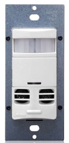 Leviton OSSMT-GDW White Multi-Technology PIR/Ultrasonic Occupancy Sensor. Incandescent/Tungsten: 800W @ 120V. Fluorescent: 1200VA @ 120V, 2700VA @ 277V. Motor Load: 1/4HP @ 120V. Coverage: 2400 Sq.Ft. Pattern: 180 deg. (Decora wallplate sold separately)