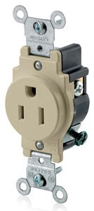LEVITON 5015-I : IVORY SINGLE RECEPTACLE-NEMA5-15R
