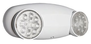 Lithonia Lighting ELM2LED White 'Quantum' Thermoplastic Emergency Lighting Unit with Two LED Lamp Heads w/12 series-parallel white LEDs each. Dual-voltage capability(120/277v). Ceiling or Wall Mounted.