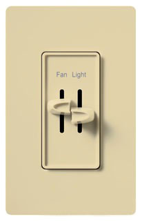 Lutron Style S2-LFSQ Ivory 300W Single Pole 3-Speed Fan Control Full-Range Light Dimmer