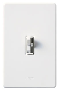 Lutron Ariadni AY-103P White 1000W 3-way Toggle switch with small slide dimmer