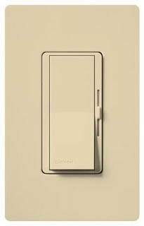 Lutron Diva DV603-P Ivory 600W 3-way Large paddle switch and small side dimmer