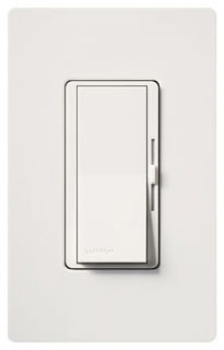 Lutron Diva DV600-P White 600W Single Pole Large paddle switch and small side dimmer. Wallplate not included.
