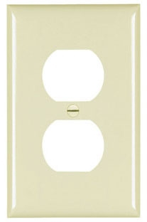 PASS & SEYMOUR TPJ8-I : TRADEMASTER WALL PLATE JUMBO SINGLE GANG DUPLEX IVORY
