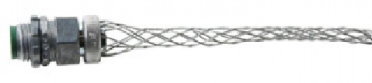 "P&S BOX40 Wire Mesh Strain Relief Grip, .4""-.54"" Cord Dia, 1/2"" Straight Male Connector"