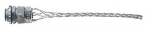 "P&S BOX52 Wire Mesh Strain Relief Grip, .52""-.73"" Cord Dia, 3/4"" Straight Male Connector"