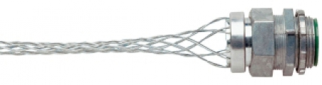 "P&S BOX94 Wire Mesh Strain Relief Grip, .94""-1.25"" Cord Dia, 1-1/4in Straight Male Connector"