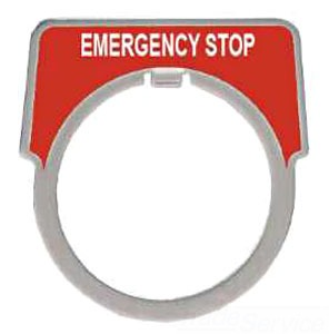 SQUARE D 9001KN205 : 30MM LEGEND PLATE - EMERG STOP RED