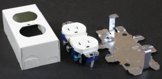WIREMOLD V57243G : STEEL DUPLEX RECEPTACLE & BOX IVORY
