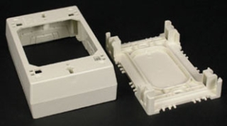 "Wiremold WM 2347: Device Box- 2347 one-gang, 2347-2 two-gang. For standard switches and devices. 2347 Base has rectangular KO. 2347-2 Base has rectangular KO to enable extension from existing flush wall box and 1/2"" and 1"" concentric KOs. Accepts industry standard faceplates for switch and communication devices."