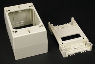 "Wiremold WM 2348: Deep Device Box- 2348 one-gang, 2348-2 two-gang, 2348-3 three-gang. For deeper switches and devices. 2348 Base has rectangular KO. 2348-2 and 2348-3 Bases have rectangular KO to enable extension from existing flush wall box and 1/2"" and 1"" concentric KOs. Accepts industry standard faceplates for switch and communication devices."